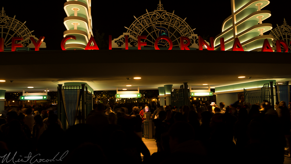 Disneyland Resort, Disneyland60, 60, Anniversary, 24, Hour, Party, Celebration, Kick, Off, Disney California Adventure, Night, Entrance, Turnstile, Buena, Vista, Street