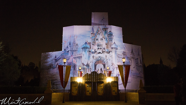 Disneyland Resort, Disneyland, Main Street U.S.A., Sleeping, Beauty, Castle, Refurbishment, Refurb, Refurbish, Disneyland60, Diamond, Concept, Art, Canvas, Tarp, Night
