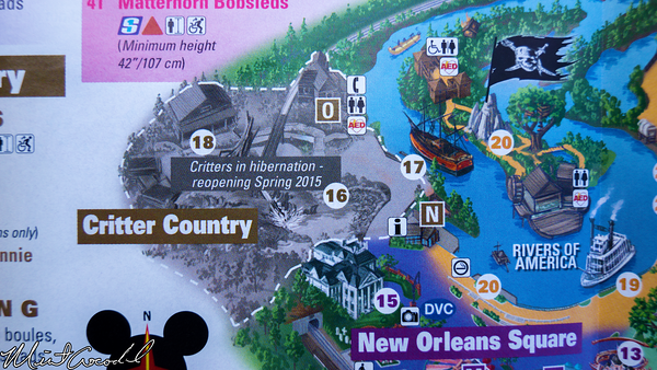 Disneyland Resort, Disneyland, 2015, Guide, Map, Critter Country, Refurbishment, Refurbish, Refurb