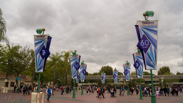 Disneyland Resort, Disneyland60, 60, Anniversary, 24, Hour, Party, Celebration, Kick, Off, Disneyland, Disney California Adventure, Esplanade, Main, Entry, Plaza, Flag, Flags, Banner, Banners