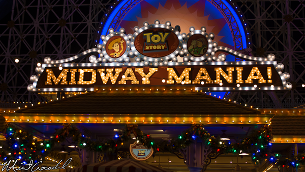Disneyland Resort, Disney California Adventure, Toy Story Midway Mania, Christmas, Time, Night