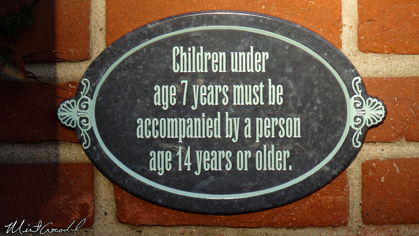 Disneyland Resort, Disneyland, New Orleans Square, Haunted Mansion, Sign, 7 years, 14 year