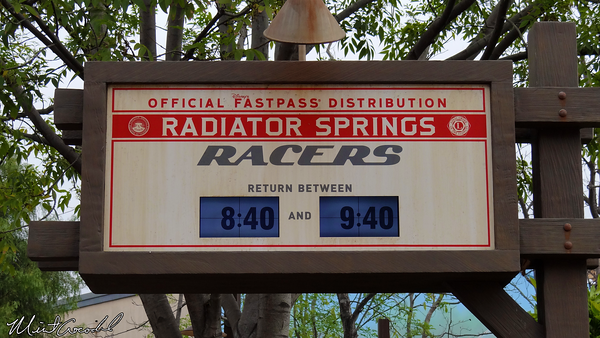Disneyland Resort, Disney California Adventure, Radiator Springs Racers, FastPass, Sign