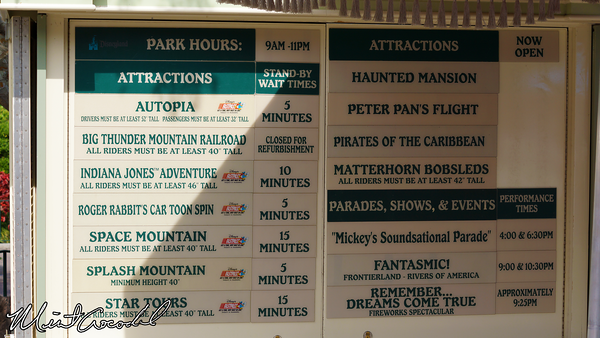 Disneyland Resort, Disneyland, Wait Time Board