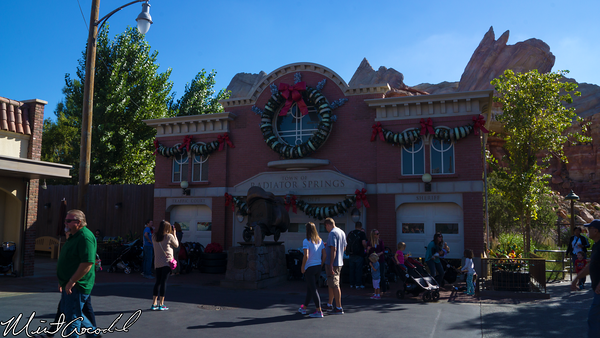 Disneyland Resort, Disney California Adventure, Cars Land, Hubcap, Christmas, Tree, Courthouse