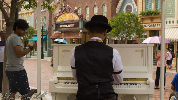Hong, Kong, Disneyland, Main Street U.S.A., Piano, Man, Player