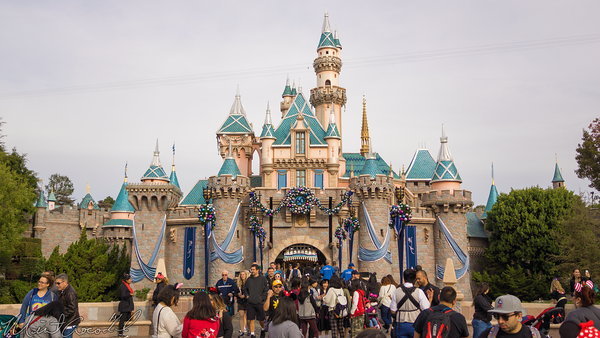 Disneyland Resort, Disneyland60, Christmas, Time, Disneyland, Sleeping, Beauty, Castle, Forecourt, Flag, Banner