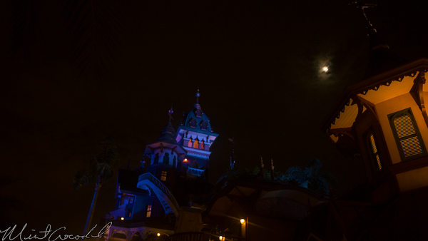 Hong, Kong, Disneyland, Mystic, Point, Manor, Evening, Night