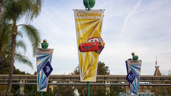 Disneyland Resort, Disneyland60, Christmas, Time, Disneyland, Disney California Adventure, Main, Entrance, Plaza, Flag, Banner, Radiator Springs Racers, Lightning, McQueen, Cars Land