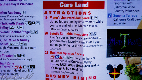Disneyland Resort, Disneyland60, Disney California Adventure, Guide, Map, Cars Land, Radiator Springs Racers, Luigi, Rollickin', Roadsters