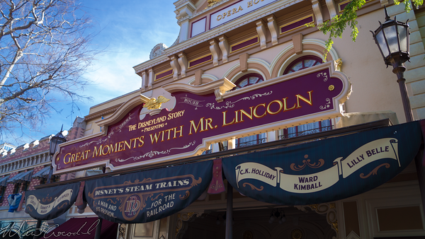 Disneyland Resort, Disneyland, Main Street U.S.A., Opera, House, Great, Moments, Mr., Lincoln, Railroad, Train, Display, Exhibit
