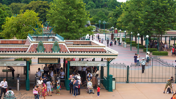 Hong, Kong, Disneyland, Main Street U.S.A., Railroad, Train, Station, Entrance