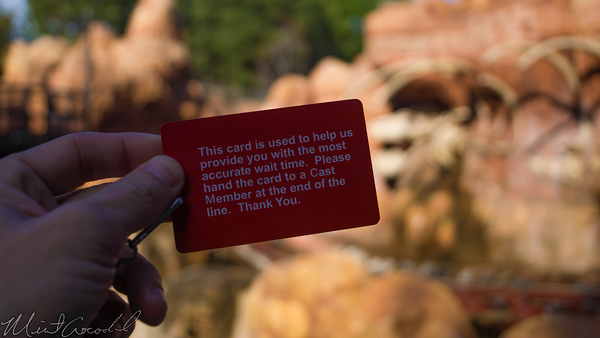 Disneyland Resort, Disneyland, Frontierland, Big, Thunder, Mountain, Railroad, FLIK, Wait, Time, Card