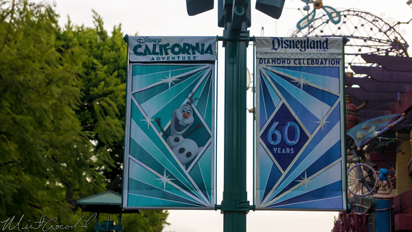 Disneyland Resort, Disneyland60, Christmas, Time, Downtown Disney, Banner, Flag, Disney California Adventure, Frozen, Olaf