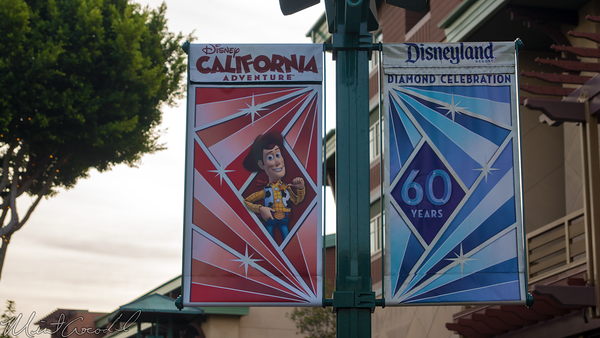 Disneyland Resort, Disneyland60, Christmas, Time, Downtown Disney, Banner, Flag, Disney California Adventure, Woody, Toy Story