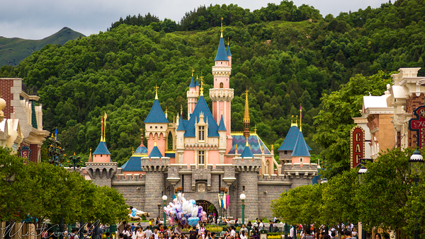 Hong, Kong, Disneyland, Main Street U.S.A., Sleeping, Beauty, Castle