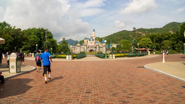 Hong, Kong, Disneyland, Main Street U.S.A., Sleeping, Beauty, Castle