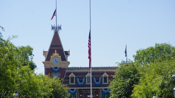 Disneyland Resort, Disneyland, Main Street USA, Half, Mast, Flag