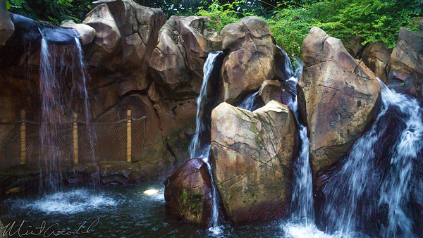 Hong, Kong, Disneyland, Adventureland, Back, Side, Water, Waterfall