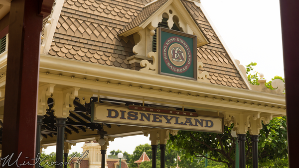 Hong, Kong, Disneyland, Main Street U.S.A., Train, Railroad, Station, Depot