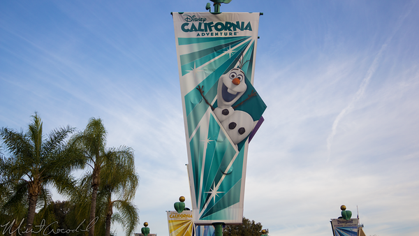 Disneyland Resort, Disneyland60, Christmas, Time, Disneyland, Disney California Adventure, Main, Entrance, Plaza, Flag, Banner, Frozen, Olaf