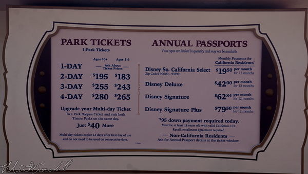 Disneyland Resort, Disneyland, Disney California Adventure, Ticket, Admission, Price