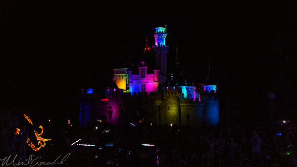 Hong, Kong, Disneyland, Sleeping, Beauty, Castle, Paint, The, Night, Electrial, Parade