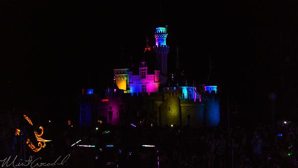 Hong, Kong, Disneyland, Sleeping, Beauty, Castle, Paint, The, Night, Electrial, Parade